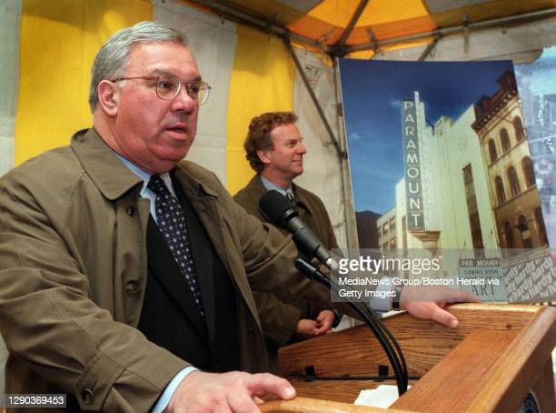 Boston mayor Tom Menino announces the reopening of the Paramount Theatre in downtown Boston . Robert J.Orchard, Managing Director of the American...