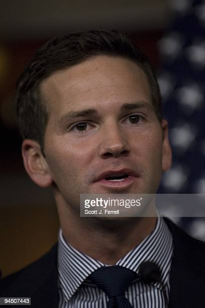 Rep Aaron Schock RIll during a news conference on the Obama administration's decision to bring detainees from Guantanamo Bay to a facility in Thomson...