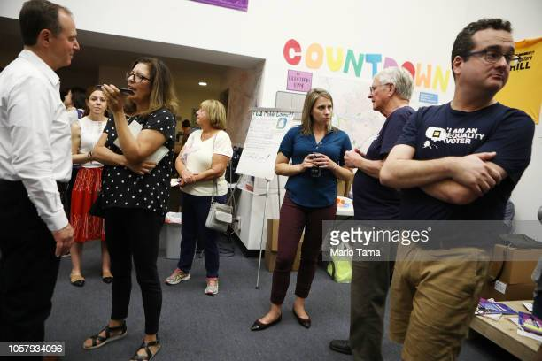 S Rep Adam Schiff and Democratic Congressional candidate Katie Hill attend a canvass launch for Hill in California's 25th Congressional district on...