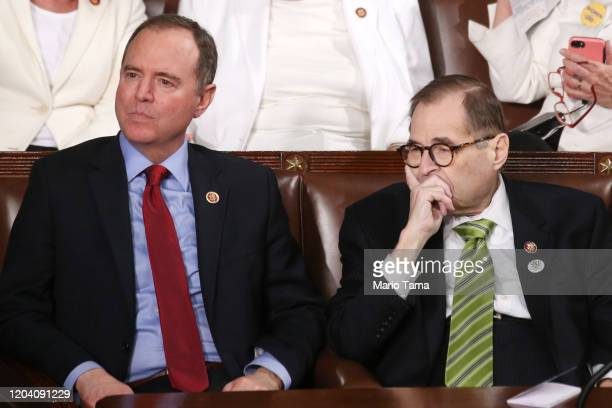 Rep Adam Schiff and Rep Jerry Nadler attend the State of the Union address in the chamber of the US House of Representatives on February 04 2020 in...