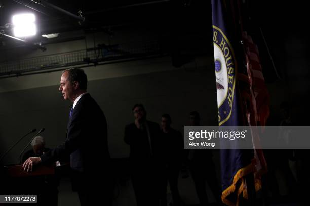 S Rep Adam Schiff chairman of the House Intelligence Committee speaks during a news conference at the US Capitol September 25 2019 in Washington DC...