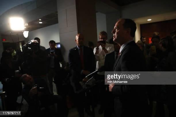 Rep Adam Schiff Chairman of the House Select Committee on Intelligence Committee speaks at a press conference at the US Capitol on October 08 2019 in...