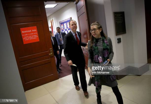 Rep Adam Schiff Chairman of the House Select Committee on Intelligence Committee arrives at a press conference at the US Capitol on October 08 2019...