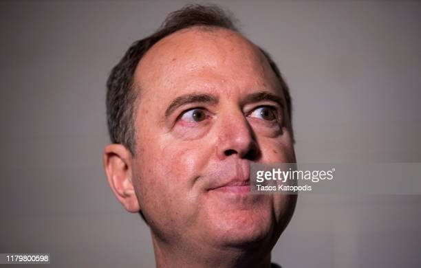 S Rep Adam Schiff Chairman of the House Select Committee on Intelligence Committee speaks at a press conference at the US Capitol on October 08 2019...