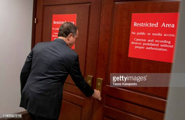 S Rep Adam Schiff Chairman of the House Select Committee on Intelligence Committee returns to a closed session before the House Intelligence Foreign...