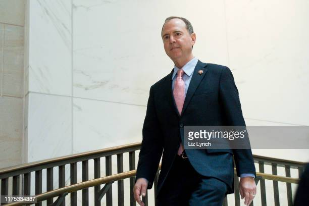 S Rep Adam Schiff House Intelligence Chairman walks down the spiral staircase in the basement of the US Capitol October 11 2019 in Washington DC The...