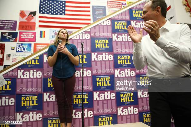 S Rep Adam Schiff R applauds after introducing Democratic Congressional candidate Katie Hill at a canvass launch for Hill in California's 25th...