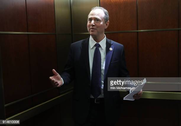 Rep Adam Schiff ranking member of the House Permanent Select Committee on Intelligence answers brief questions from the media while boarding an...