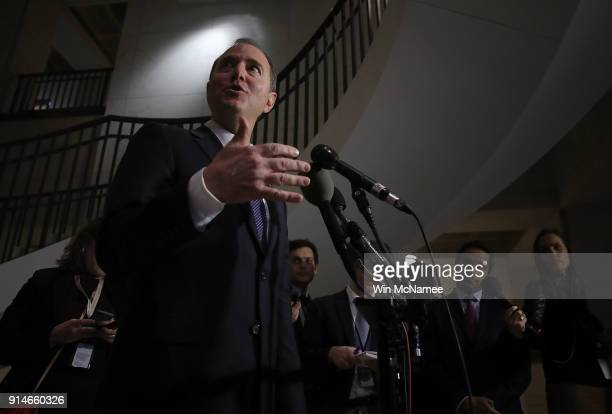 Rep Adam Schiff ranking member of the House Permanent Select Committee on Intelligence answers questions following a committee meeting at the US...