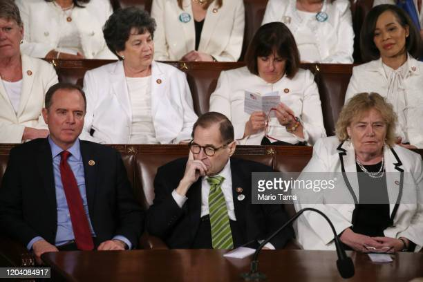 Rep. Adam Schiff , Rep. Jerry Nadler , and Rep. Zoe Lofgren attend the State of the Union address in the chamber of the U.S. House of Representatives...