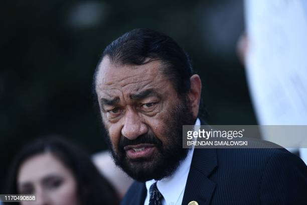 Rep Al Green watches as activists ask for impeachment as they gather on Capitol Hill on September 23 2019 in WashingtonDC The demonstration and press...
