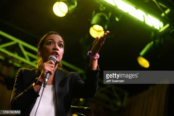 Rep. Alexandra Ocasio-Cortez speaks at a rally in support of Ohio Congressional Candidate Nina Turner on July 24, 2021 in Cleveland, Ohio. Turner, a...