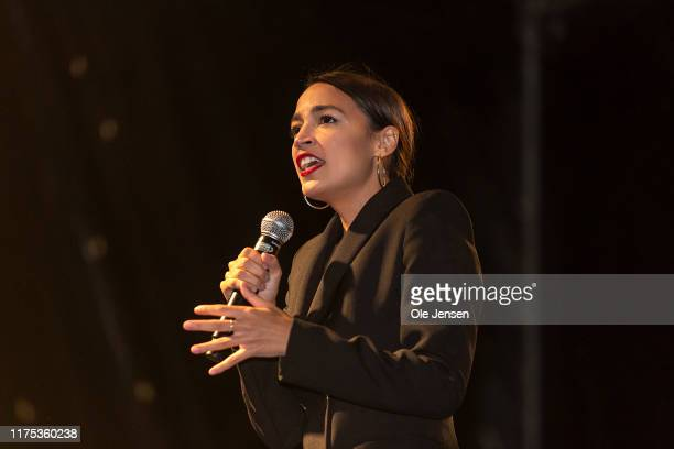 Rep. Alexandria Ocasio-Cortez , a US politician elected in 2018 as the youngest ever to have a seat in the House of Representatives, speaks to the...