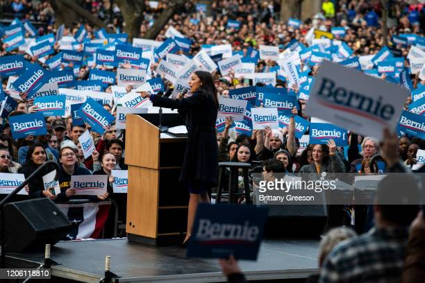 Rep Alexandria OcasioCortez addresses supporters during a campaign rally for Democratic presidential candidate Sen Bernie Sanders on March 8 2020 in...