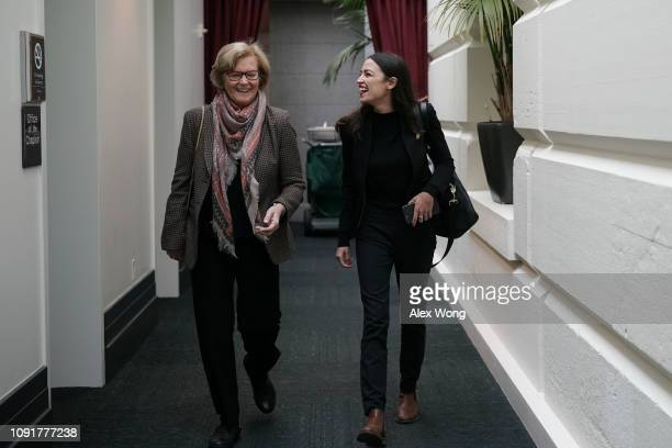 S Rep Alexandria OcasioCortez arrives with Rep Chellie Pingree at a House Democratic Caucus meeting at the US Capitol January 9 2019 in Washington DC...