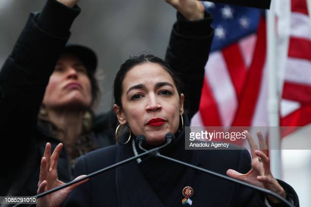 Rep Alexandria OcasioCortez delivers a speech during the Women's March in Columbus Circle in New York United States on January 19 2019