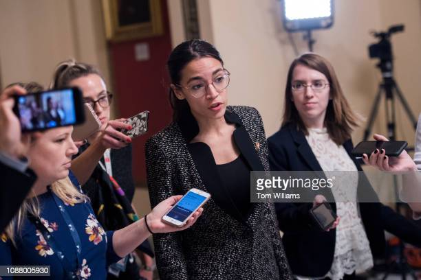 Rep Alexandria OcasioCortez DNY leaves the Senate floor in the Capitol after a vote on a continuing resolution to reopen the government which failed...