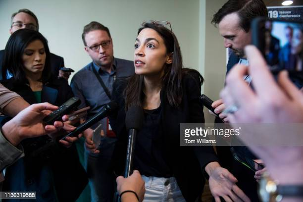 Rep Alexandria OcasioCortez DNY talks with the media at the House Democrats' 2019 Issues Conference at the Lansdowne Resort and Spa in Leesburg Va on...