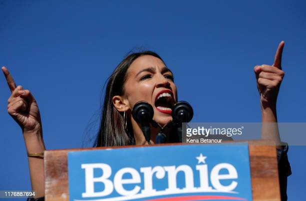 Rep. Alexandria Ocasio-Cortez endorses Democratic presidential candidate, Sen. Bernie Sanders at a campaign rally in Queensbridge Park on October 19,...