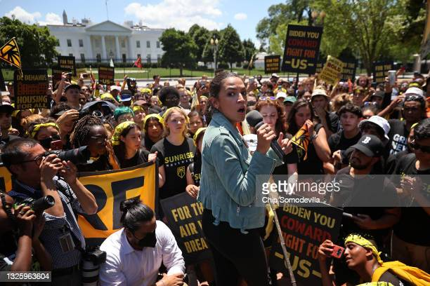 Rep. Alexandria Ocasio-Cortez rallies hundreds of young climate activists in Lafayette Square on the north side of the White House to demand that...