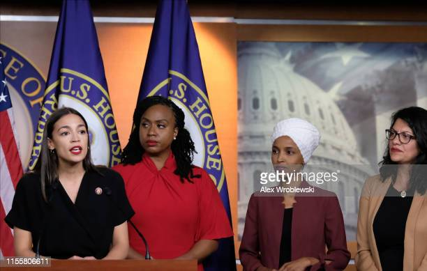 S Rep Alexandria OcasioCortez speaks as Reps Ayanna Pressley Ilhan Omar and Rashida Tlaib listen during a press conference at the US Capitol on July...