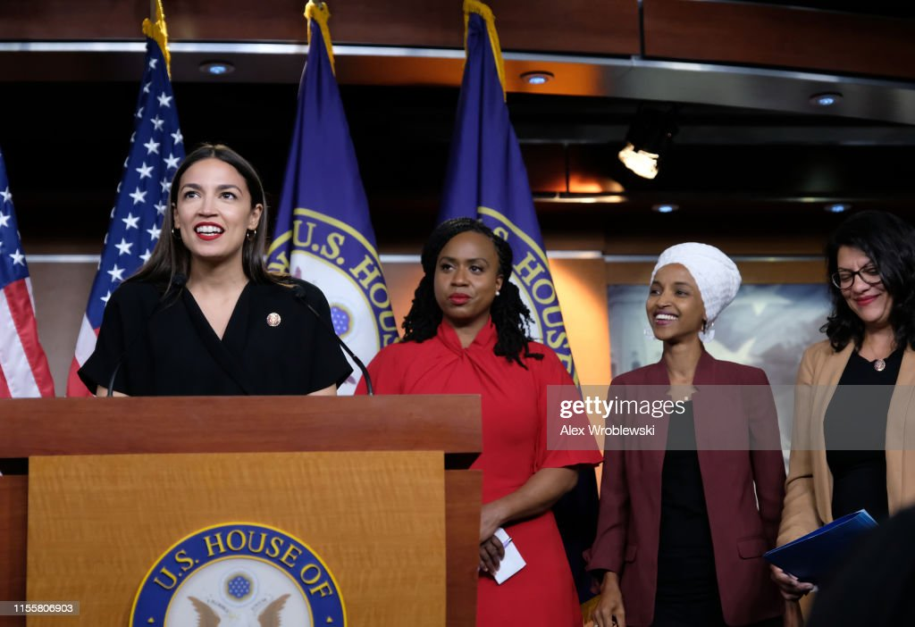 Congresswomen Ocasio-Cortez, Tlaib, Omar, And Pressley Hold News Conference After President Trump Attacks Them On Twitter : News Photo
