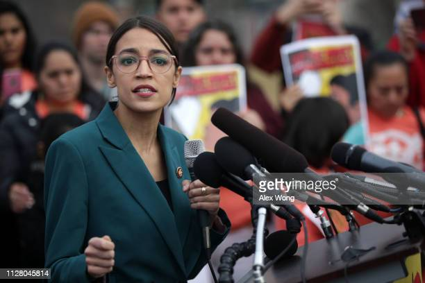 S Rep Alexandria OcasioCortez speaks during a news conference at the East Front of the US Capitol February 7 2019 in Washington DC The freshmen...