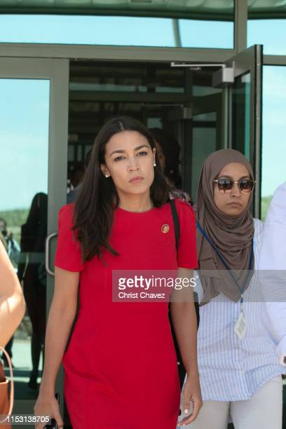 Rep. Alexandria Ocasio-Cortez walking out from the El Paso Border Patrol Station in El Paso TX on July 1, 2019 in Clint, Texas. Reports of inhumane...