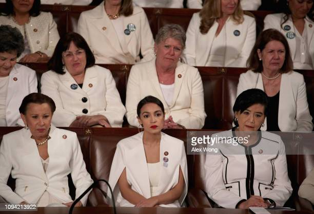 Rep Alexandria OcasioCortez watches President Donald Trump's State of the Union address in the chamber of the US House of Representatives at the US...