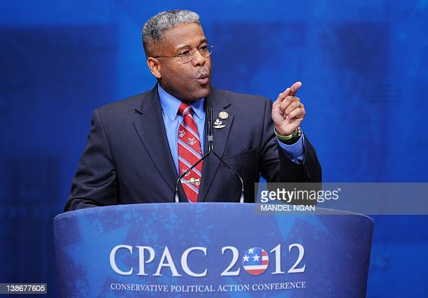 Rep Allen West RFL speaks during an address to the 39th Conservative Political Action Committee February 10 2012 in Washington DC AFP PHOTO/Mandel...