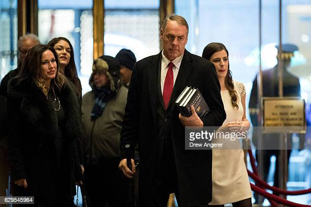 S Rep and Presidentelect's Donald Trump's choice for Interior Secretary Ryan Zinke arrives at Trump Tower December 12 2016 in New York City...