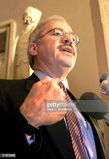 Rep and Republican manager Bob Barr briefs reporters in the halls of the US Senate in Washington DC 20 January on the fifth day of the US Senate...