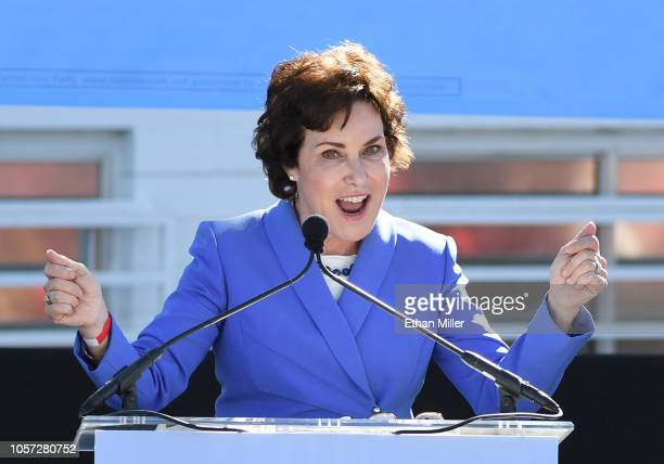 S Rep and US Senate candidate Jacky Rosen speaks during a rally at the Culinary Workers Union Hall Local 226 featuring former US Vice President Joe...