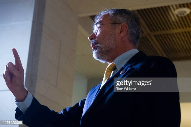 Rep Andy Harris RMd speaks reporters after being denied entrance to the deposition and access to the transcripts related to the House's impeachment...