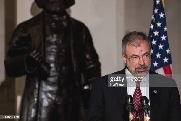 Rep Andy Harris speaks at the Commemoration of the Bicentennial of the Birth of Frederick Douglass in Emancipation Hall of the US Capitol on...