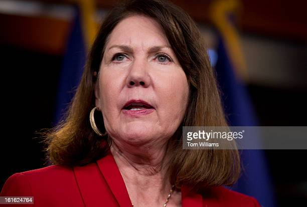 Rep Ann Kirkpatrick DAriz speaks at a news conference in the Capitol Visitor Center on the reauthorization of the Violence Against Women Act