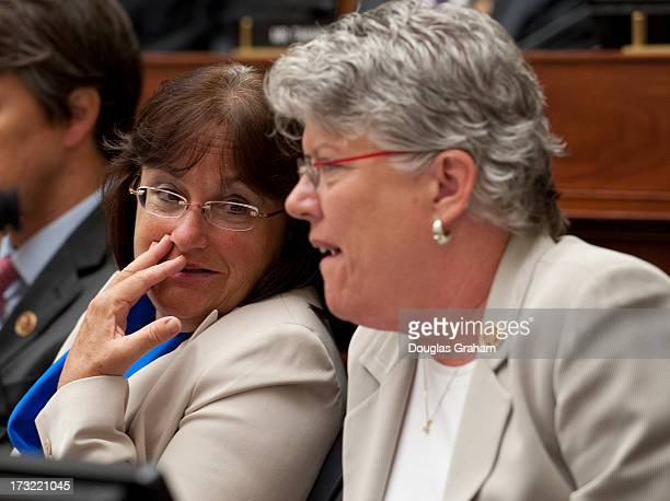 July 10: Rep. Ann McLane Kuster, D-NH and Rep. Julia Brownley, D-CA., during the Armed Services and Veterans Affairs joint full committees hearing on...