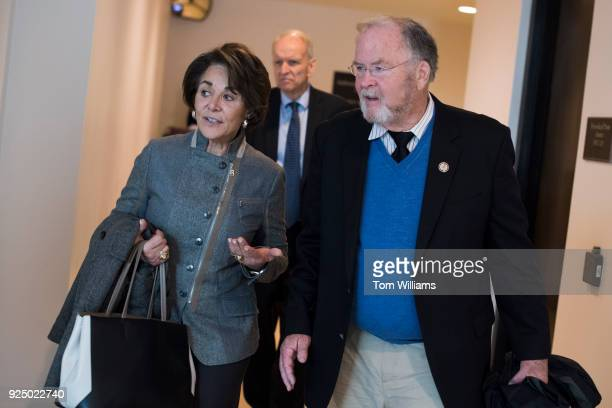Rep Anna Eshoo DCalif and former Rep Sam Farr DCalif are seen in the Capitol Visitor Center on February 27 2018