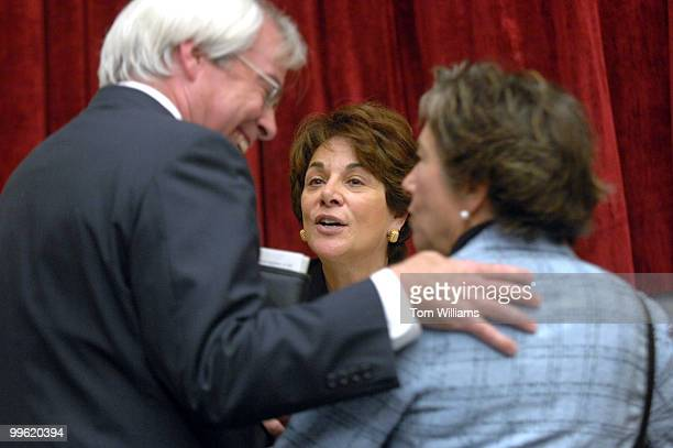 Rep Anna Eshoo DCalif center shares a laugh with Reps John Barrow DGa and Jan Schakowsky DIll before the start of a House Energy and Commerce...