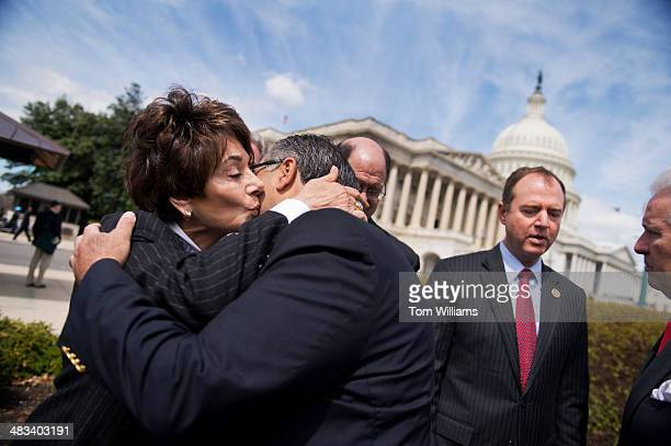 Rep Anna Eshoo DCalif hugs Aram Hamparian of the Armenian National Committee of America after a news conference at the House triangle on the dangers...