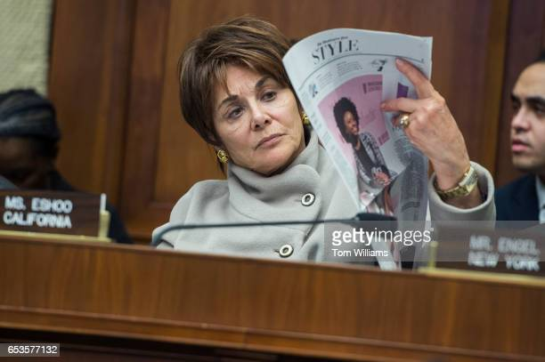 Rep Anna Eshoo DCalif reads the newspaper after the 24hour mark of a House Energy and Commerce Committee markup in Rayburn Building regarding the...