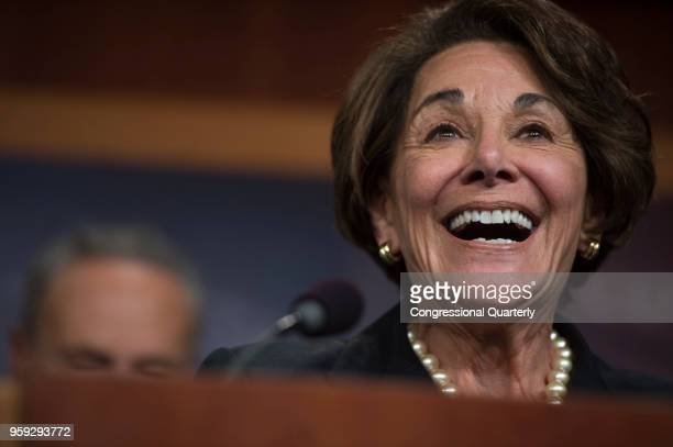 Rep Anna Eshoo DCalif smiles during a press conference following the vote that would help stop the Federal Communications Commission's effort to...