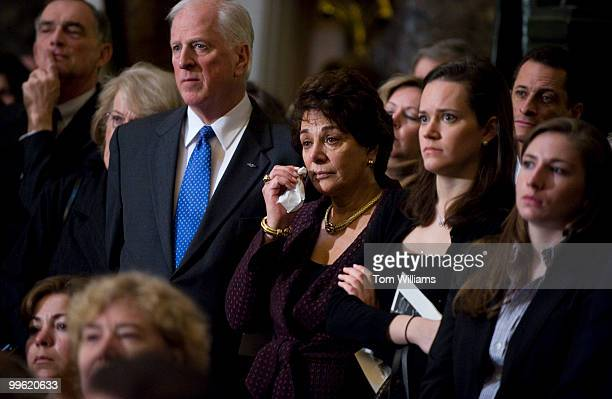 Rep Anna Eshoo DCalif wipes a tear during a memorial service in Statuary Hall for the late Congressman John Murtha DPa Mar 3 2010
