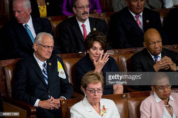 Rep Anna Eshoo DCalif wipes a tear during an address by Pope Francis to a joint meeting of Congress in the House chamber of the Capitol September 24...