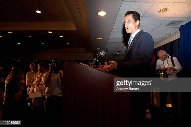 Rep Anthony Weiner admits to sending a lewd Twitter photo of himself to a woman and then lying about it during a press conference at the Sheraton...