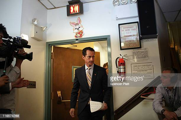Rep Anthony Weiner arrives to announce his resignation June 16 2011 in the Brooklyn borough of New York City The resignation comes 10 days after the...