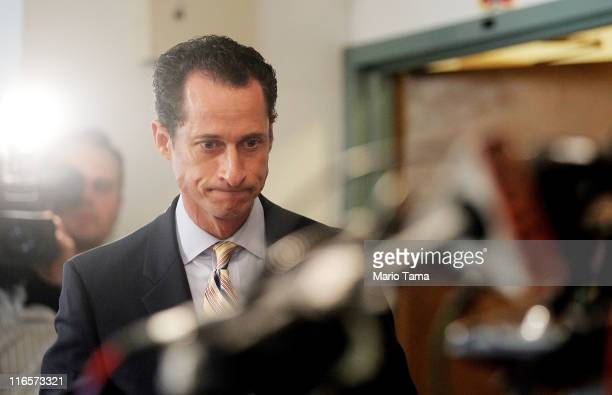 S Rep Anthony Weiner enters to announce his resignation June 16 2011 in the Brooklyn borough of New York City The resignation comes ten days after...