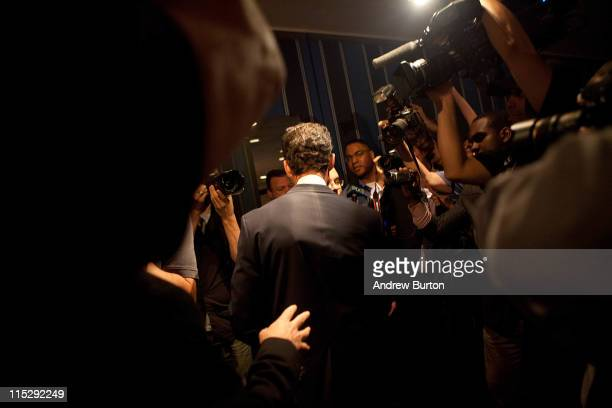Rep Anthony Weiner leaves a press conference after admiting to sending a lewd Twitter photo of himself to a woman and then lying about it at the...