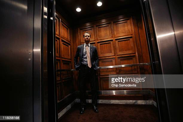 Rep Anthony Weiner steps onto an elevator after leaving his office in the Rayburn House Office Building on Capitol Hill June 2 2011 in Washington DC...
