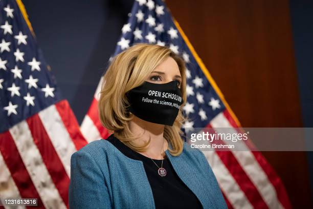 March 9: Rep. Ashley Hinson, R-Iowa, attends a news conference with other House Republican members in Washington on Tuesday, March 9, 2021.